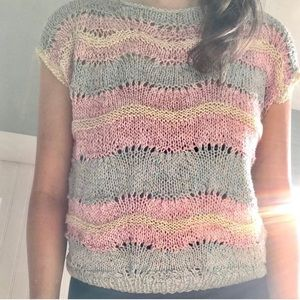 Sweaters - Pastel Waves and Sparkles Sleeveless Sweater